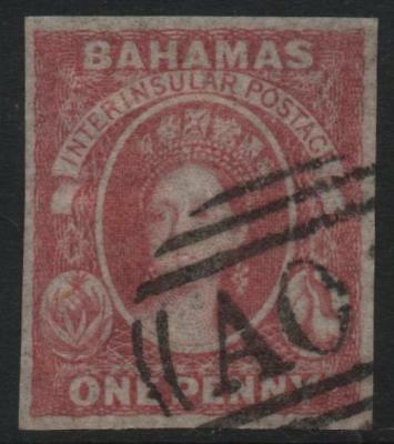 BAHAMAS: 1860 Sg 2 1d Dull Lake Example - Appears fine used, forged pmk (19734)