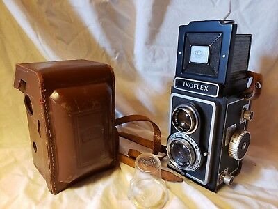 Zeiss Ikon Ikoflex Ia Camera with Dual Lens Cap and Leather Case