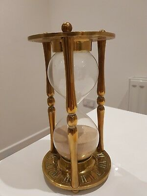 Large Vintage Brass Hour Glass, Sand Timer.roman Numeral Clock & Zodiac Engraved
