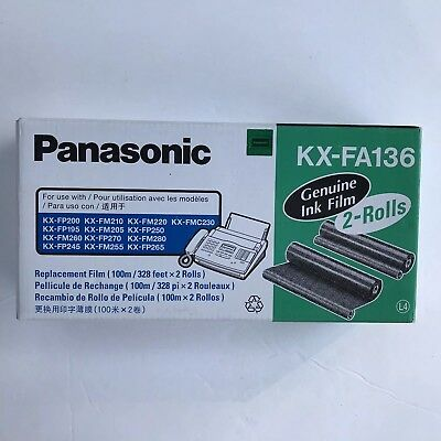 New Genuine Panasonic KX-FA136 Ink Film Rolls x2  Replacement 4 Fax Copy Machine