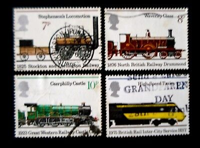 """Great Britain. 1975. """"150th. Anniv. of Public Railways"""" set of 4 stamps. Used."""