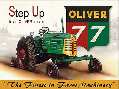 Retro Vintage Nostalgic Oliver 77 Tractor Farm Machinery Metal Tin Sign 9x12