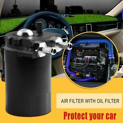 Car Cylinder Aluminum Engine Oil Catch Can Modified Tank With Filter Hose BlaAL