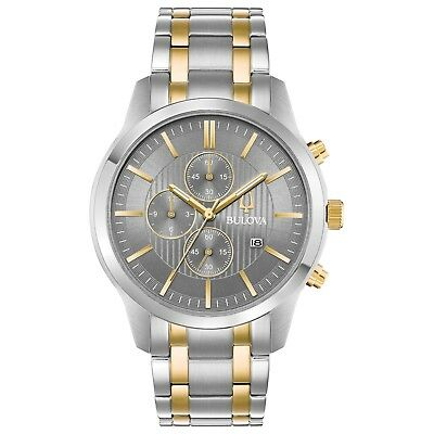 Bulova Men's 98B309 Quartz Chronograph Grey Dial Two-Tone Bracelet 43mm Watch