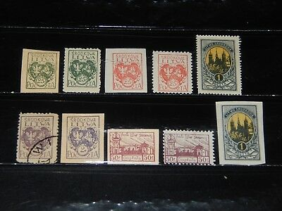 Central Lithuania stamps - 10 mint hinged and used early stamps - great group !!