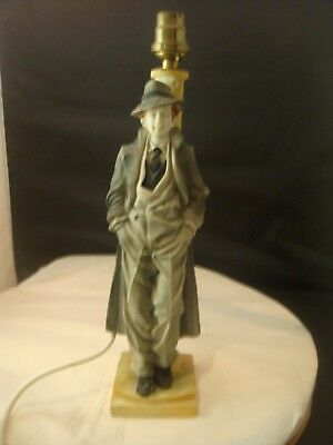 Superb Art Deco Table Lamp Of Man In Suit Leaning Against A Post Very Unusual