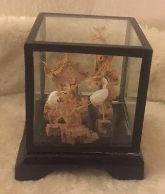 Vtg Chinese Oriental Carved Cork Art Scene Sculpture In Glass Wood Stand