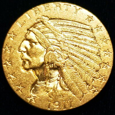 1911 S $5 Indian Head Half Eagle Gold Five Dollars Nice Collector Coin ^IH1109