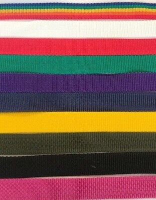 """Webbing 1"""" Wide Polypropylene  3mtrs, 5mtrs & 10mtrs, Various Colours Available"""