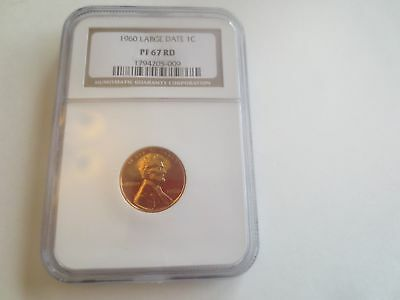 1960 Large Date Proof Lincoln Memorial Cent NGC PF67 RD