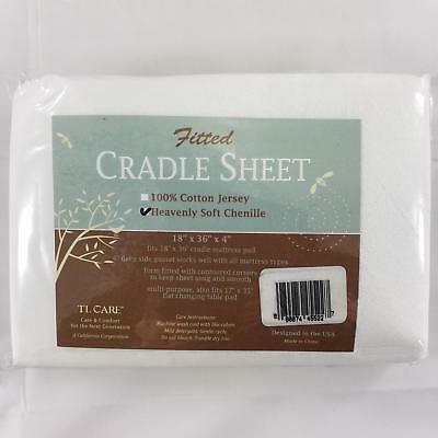 TL Care Heavenly Soft Chenille Fitted Cradle Sheet - White