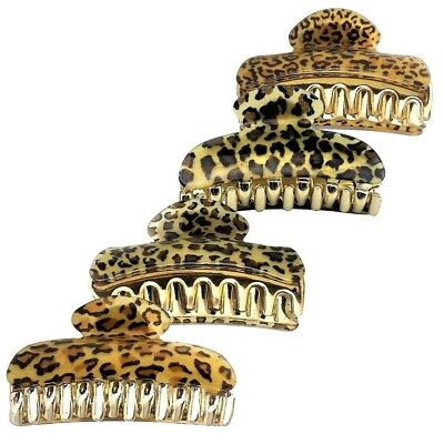 Womens Leopard Large Hair Claw Clip Clamp French Spring Ponytail Holder Bath