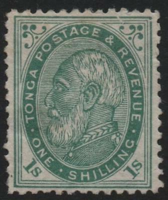 TONGA: 1886 - Sg 4 - 1/- Pale Green Average Mounted Mint Example Cat £95 (19708)