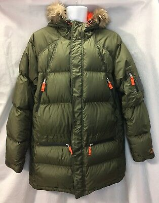 NIKE Mens Down Puffer Coat Jacket Parka Size L Green Fur Hood Grey Duck Down