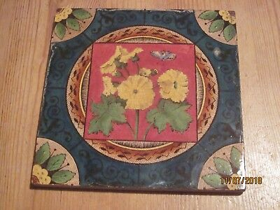 Antique transfer printed and hand painted tile 3