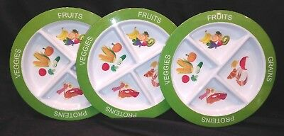 Kids Toddler Healthy Portion Divided / Sectioned  Plate Set of 3 NEW