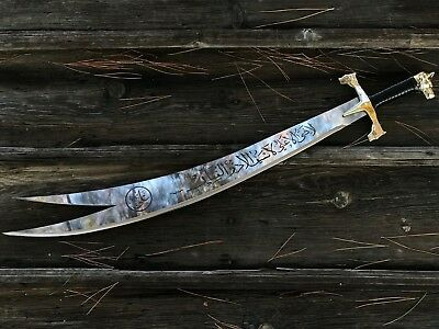antique Zulfikar Turkish sword rare original Islamic quran written Arabic 90 cm