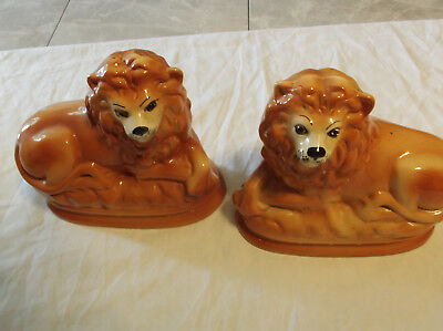 Staffordshire Figures Pair Large Lions Victorian