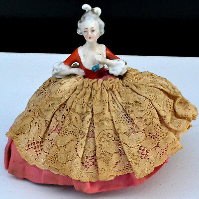 Antique Porcelain Half Doll Pin Cushion Doll Bavaria