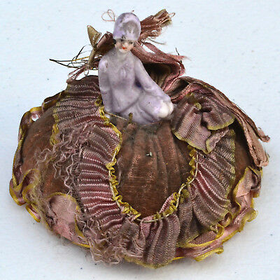 Antique Porcelain Miniature Pin Cushion Doll in Seductive Pose - Germany