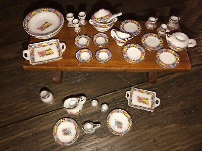 Dollhouse Miniature China Dishes Cups Serving Trays Bowls