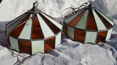 """Vintage carousel styleTiffany Ceiling Lights  x 2 large stained glass 16"""" x 10"""""""