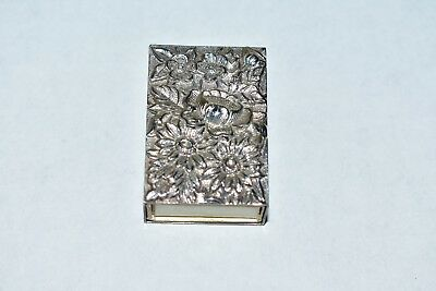 S Kirk & Son Repousse Sterling Silver Ornate Match Safe Box Holder