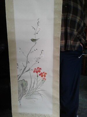 VTG ORIENTAL SCROLL PAINTING  FLOWER BLOSSOMS AND LITTLE BIRD  OLD APROX 46x13""