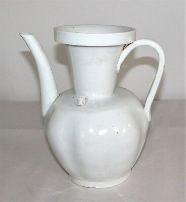 Antique Chinese Porcelain Ewer Jug / White Glaze Tomb Burial Vessel / Pre-1800