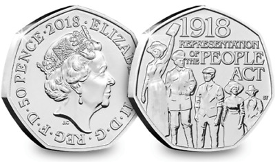 Representation Of The People Act 1918...50p Fifty Pence coin 2018...Free Postage