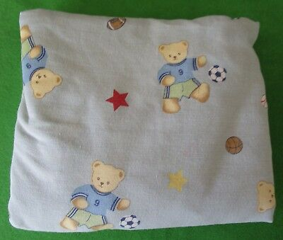 Bedtime Originals Crib Bedding Fitted Sheet - Teddy Bear Sports - Made In Usa