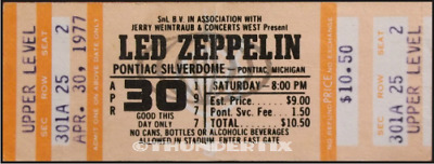 1  LED ZEPPELIN VINTAGE UNUSED FULL CONCERT TICKET 1977 Pontiac, Michigan