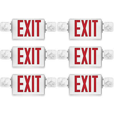 Sunco 6 pack EMERGENCY EXIT SIGN Single/Double Face LED w/ 2 Head Lights UL