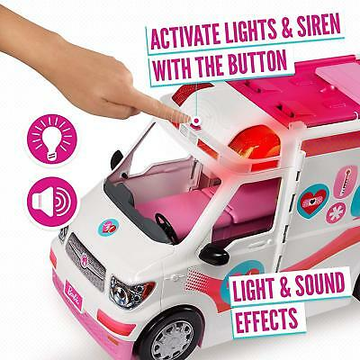 Barbie FRM19 Careers Care Clinic Ambulance, Play, Role Model, Lights And Lots