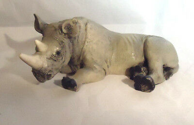 "Vintage 1988 Castagna Resin Rhinoceros About 6 1/4"" Long"
