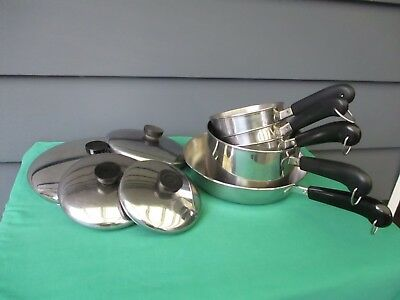 Vintage 1801 Revere Ware Mix Lot Pans - Lot Of 9 - Copper Cord Stainless Steel -
