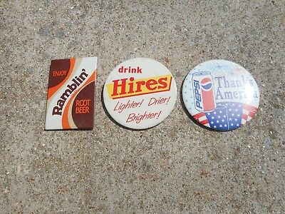 """( 3 ) SOFT DRINK VINTAGE PIN BACKS in USED CONDITION - they are ALL 3"""" ACROSS"""