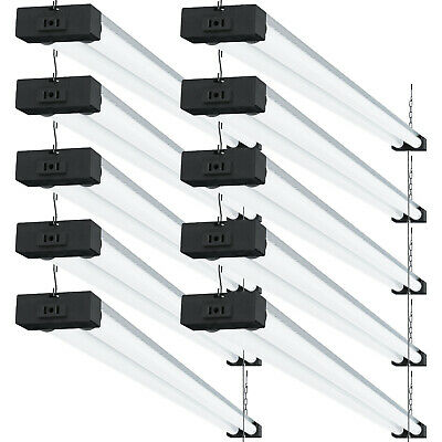 SUNCO 10 PACK 4ft 40W LED Industrial Utility Shop Light 5000K Daylight, Frosted