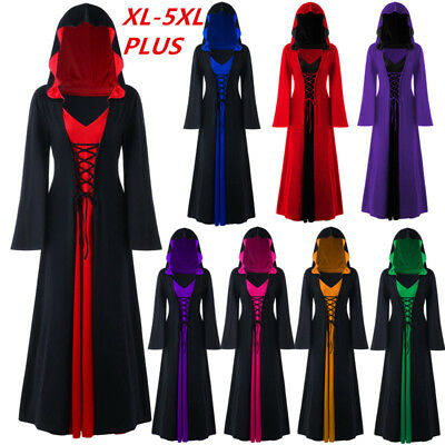 Women's Vintage Victorian Lace Up Gothic Dress Cosplay Hooded Medieval Dress