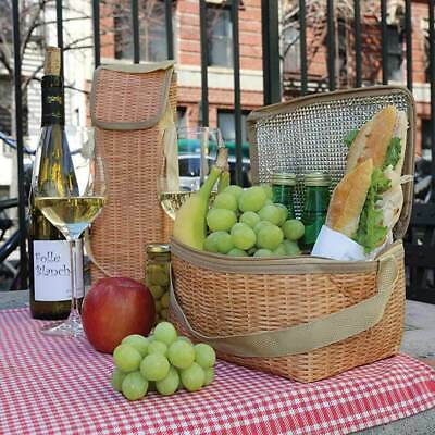 Insulated Picnic Lunch Box and Wine Cooler Set with Wicker print by KIKKERLAND