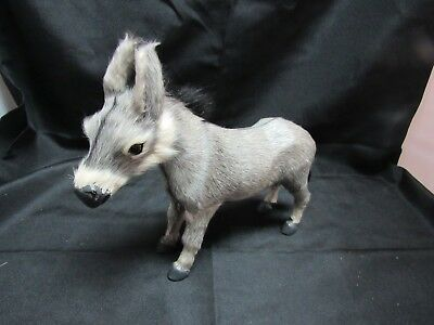 Vintage Donkey Mule Hard Plastic With Fur Farm Animal