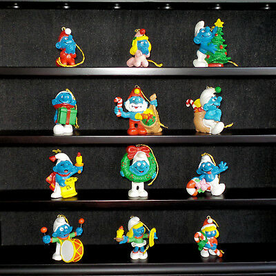Smurfs Christmas Ornaments, NEW, MINT, Complete set of 12 w/cords, 1981 Portugal