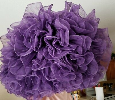 "Nice Dk Purple 2 Layers Square Dance Petticoat 3 Tiers Of Ruffles  20"" Long"