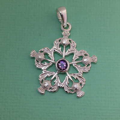 Pretty Solid Sterling Silver 925 Scottish Thistle & Purple Amethyst Pendant