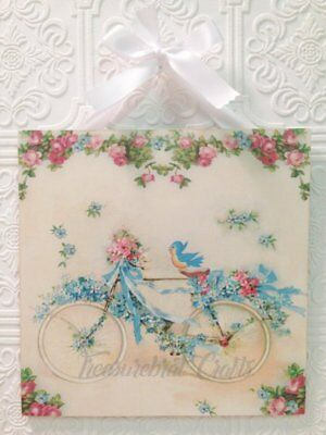 French Country Shabby Cottage Chic Wall Decor Sign - Vintage Bike