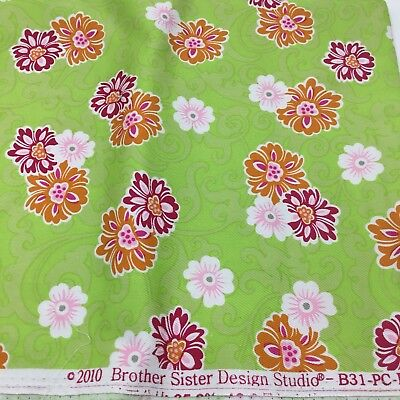 Brother Sister Design Studio Brown Floral Cotton Fabric 125 Yards