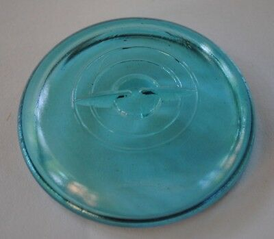 Vintage BLUE GLASS LID for Regular~Mouth Wire Bail Closure Ball... Canning Jar