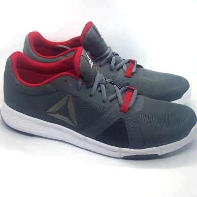 f452fbc376e8fe Reebok Flexile Mens Gray Mesh Athletic Lace Up Training Shoes Size 11 New