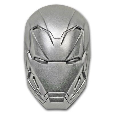 2019 2 oz Antique Fiji Marvel Iron Man Mask Domed Coin (Box + CoA)