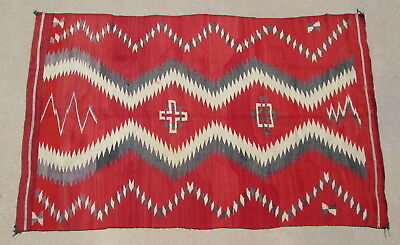 Antique Navajo Rug Red Gray Eye Dazzler Double Cross Hour Glass 50 x 80in c1900